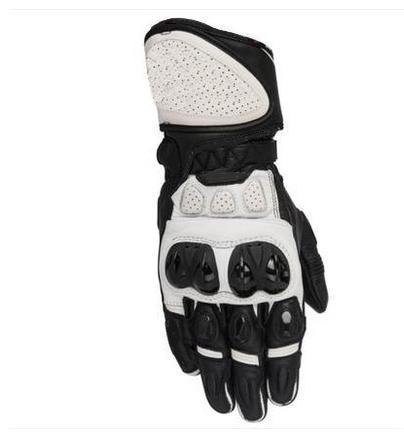 SP Plus R Genuine Leather Gloves Sport Bike Street Track Motorcycle Gloves Black White