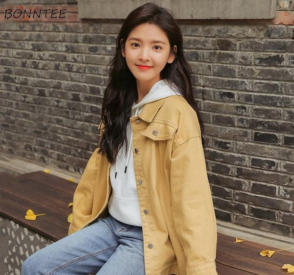Jackets Women Lovely Sweet Girl Students New Turn-down Collar Pockets Casual Single Breasted Korean Style 2019 Chic Womens Daily