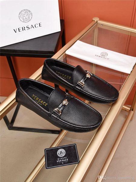 Best 10 Model Platform Shoe Man Dress Shoes Office Shoes Office Mocassini Scarpe Tiger Mocassino Bottone in metallo Marrone Taglia 38-45 Con scatola