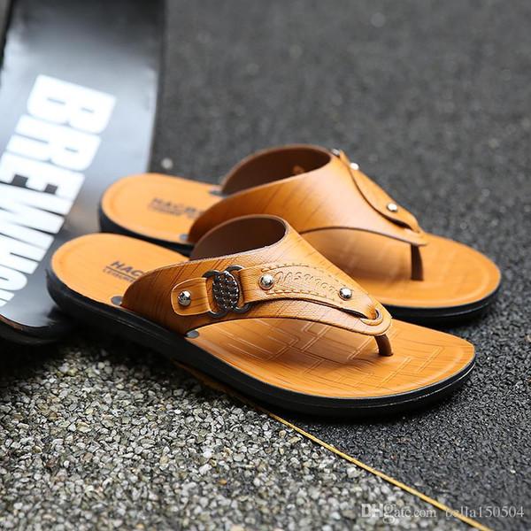 fashion Designer Mens Sandals Summer Stripped Slippers For Men Leather Flip Flop Summer Hawaiian Beach Rubber Shoe Male Flats Sandals