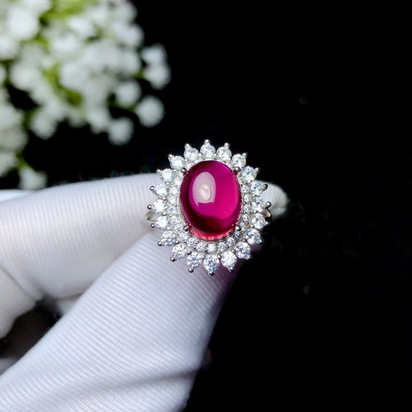 Plain Cutting Of Large Ruby Corundum Ring 925 Sterling Silver Plated With 18K White Gold Open Size Ring Adjustable Rings For Women