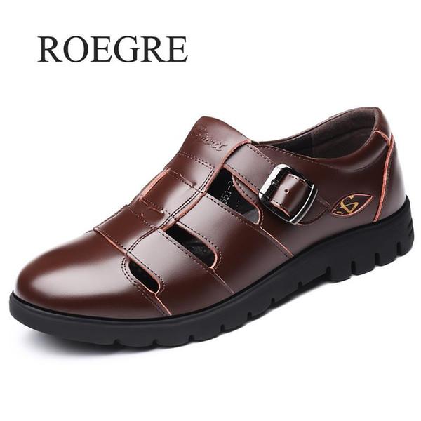 Erkekler Sandalet Hakiki Deri Sandalet Erkekler Açık Rahat Deri Plaj Ayakkabıları Için Roma Ayakkabı Artı Boyutu 38-47
