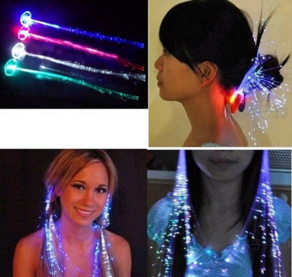 best selling Flashing Luminous Light Up LED Hair Extension Flash Braid Party Girl Hair Glow by Fiber Optic Christmas Halloween Night Lights Decoration
