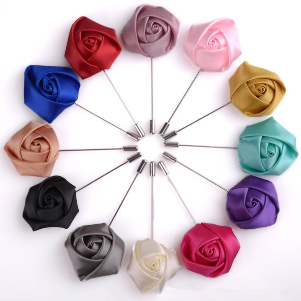 YO CHO Groom Wedding Boutonniere Simple Silk Rose Flower White Purple Buttonhole Brooch Party Prom Corsage Lapel Pin Badge Boutonniere