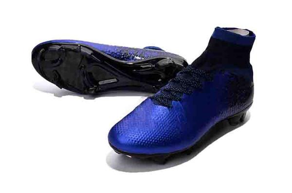Alta Diamod blu CR7 Mercurial Superfly morsetti di calcio 7 360 Elite NJR FG originali stivali bambini calcio Cristiano Ronaldo