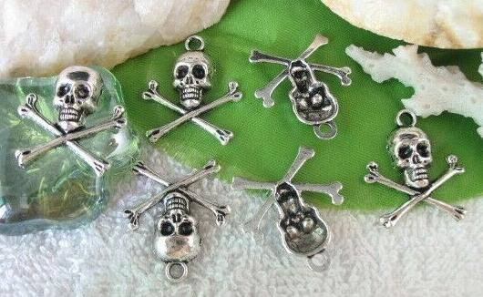 200 Pcs Tibetan Silver Skull Skeleton Charms Pendant 21mmx24mm For Men Women Jewelry Necklace Bracelet Earrings Accessories