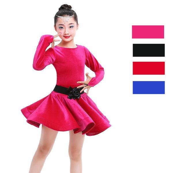 Retour à l'école Filles Enfants Robe de danse latine Salsa Robe de tango rouge et noire Robe de jupe de bal Samba pour enfants