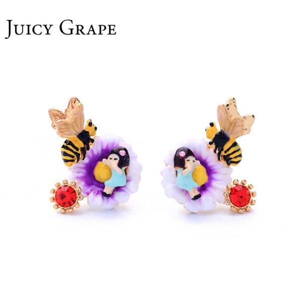 Juicy Grape Nueva llegada esmalte esmalte pintado a mano 925 astilla único hipoalergénico pendiente del perno prisionero para las mujeres C19041201