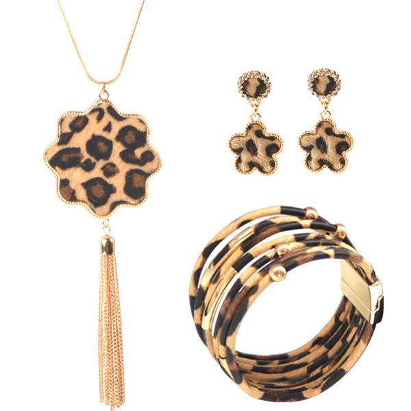 Leopard Jewelry Set Leather Bracelet Teardrop Drop Dangle Earrings Long Tassel Pendant Necklace Fashion Jewelry for Women