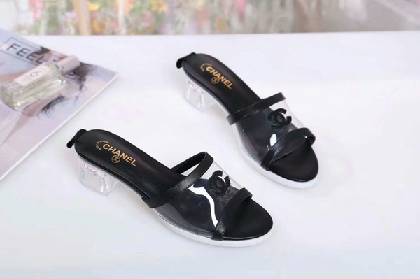 2019 new recommended ladies sandals with transparent heel rubber two-color outsole