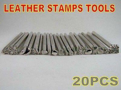 Wholesale-New lot of 20 Leather Craft Tools Basic Stamps set Saddle Printing marking tool