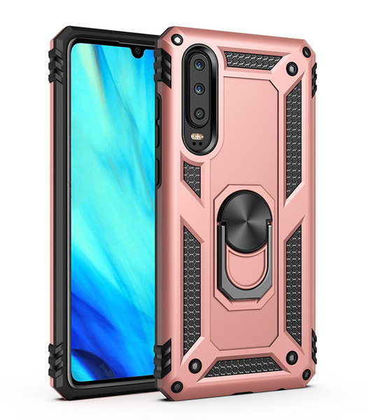 Case For Huawei P30pro Case P30 Silicone Armor Bumper Shockproof Cover Luxury Samsung S10 Plus 5G S10e Car Holder Ring Case