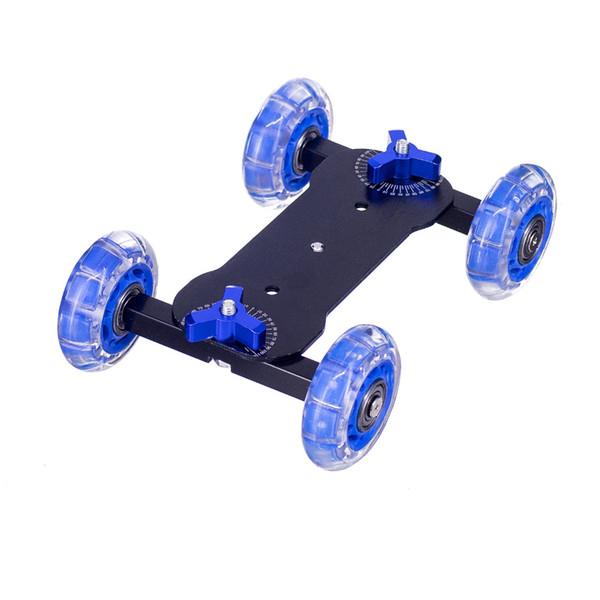 Kaliou DSLR Camera Video Photograph Rail Rolling Track Slider Skater Table Dolly Car Blue Flexible For Speedlite DSLR Camera