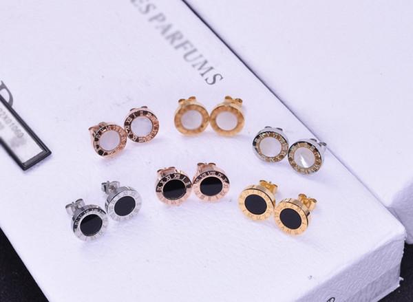 Brand classic stud earrings white and black shell ceramic earrings Roman Numerals earring for women men birthday gifts