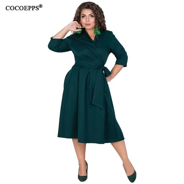Cocoepps L-6xl Женская Одежда Плюс Размер Осень Платье Элегантный Лот Одежда Большой Размер Офиса Случайные Длинные Вооруженные Vestidos Y19071001