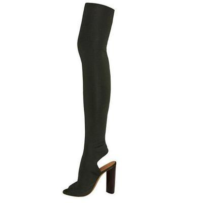 Stretch Fabric Over the knee Booties Military kanye West Heels Shoes Plain Peep Toe Socks Thigh High Boots Knit Ankle Women Pumps