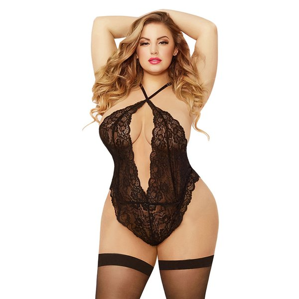 new women lingerie sexy lace underwear jumpsuit hanging neck backless adjusted straps fluoroscopy sexy One-Piece underwear plus size