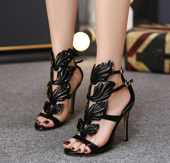 Women Shoes Flame metal leaf Wing High Heel Sandals Gold Nude Black Party Events Shoes Size 35 to 40