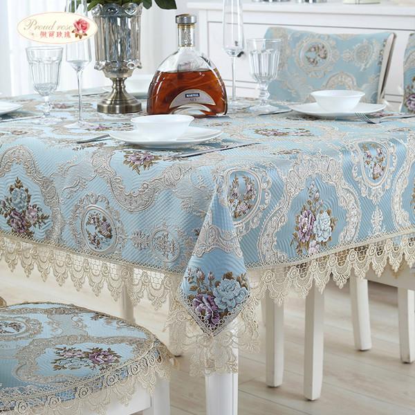 Гордая роза европейская жаккардовая скатерть кружева скатерть бегун стол свадебный декор крышка пылезащитная ткань подушки стула