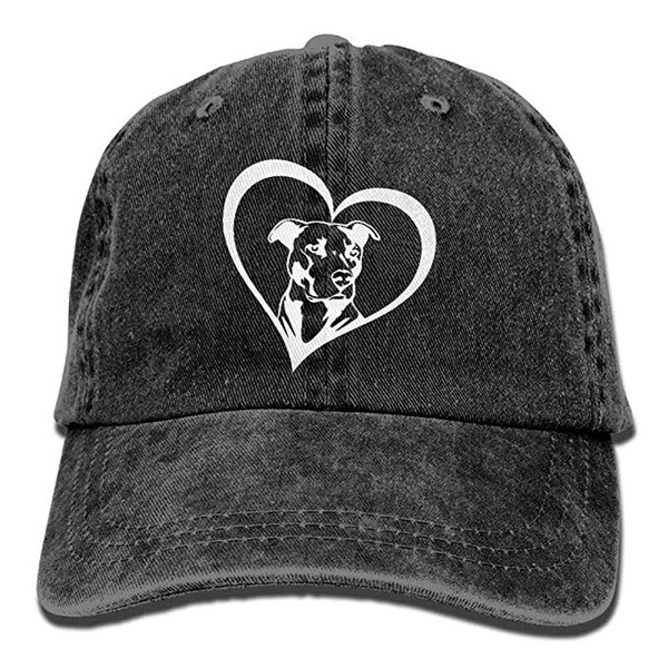 2019 New Wholesale Baseball Caps Print Hat High Pit Bull Heart Mens Cotton Adjustable Washed Twill Baseball Cap Hat