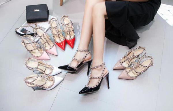 Lüks bayanlar sandalet parti dans moda yüksek topuklu yüksek kaliteli gerçek deri bayan ayakkabı 6-11 cm topuklu kutusu ile daha fazla renk
