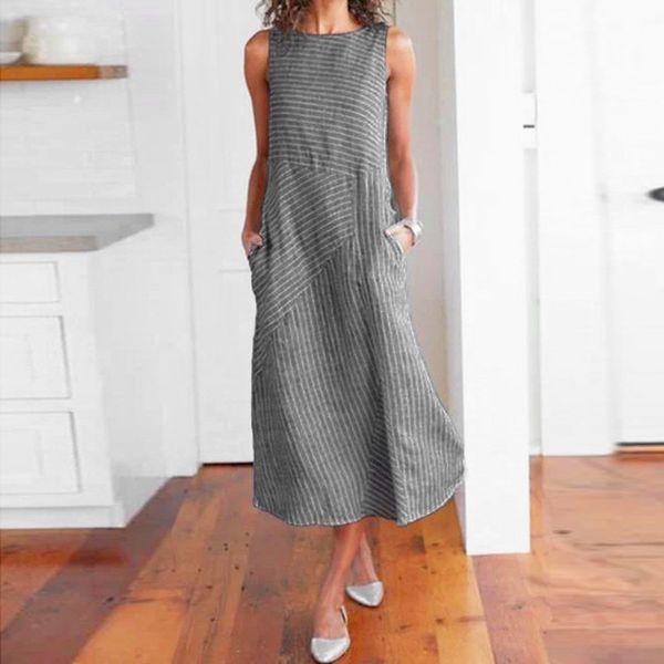2019 Women Clothes Women Dress Casual Pure Color Striped Sleeveless Dress Crew Neck Linen Pocket Long Party Elegant Dresses