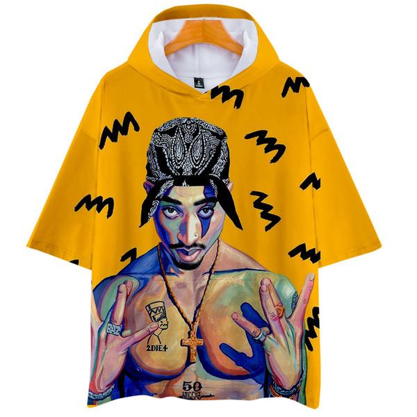 American Rapper Tupac 2PAC 3D Leisure short-sleeved hoodie Sweatshirt 2019 fashion trend short sleeve sweatshirt