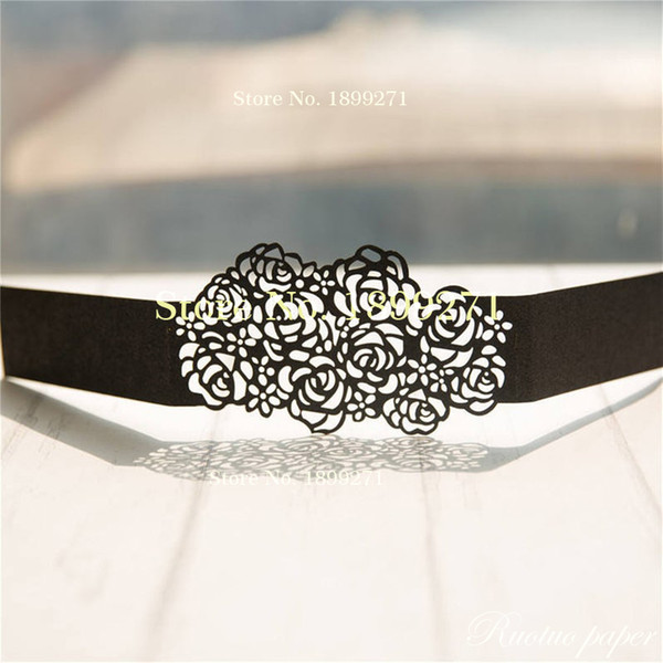 Hot Sell Rose Design Glitter Belly Bands For Diy Wedding Invitations Black Glitter Silver Gold Rose Gold Glitter Diy Belly Bands Corporate Greeting