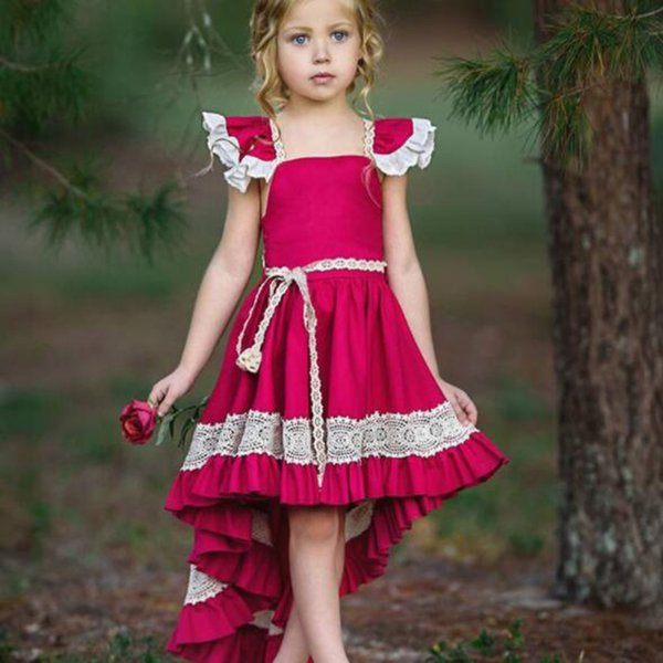 2019 new arrival summer baby Girl's Dresses Outwear children clothing Knee-Length Red cotton Solid sleeveless lace