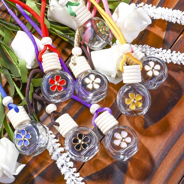 8-10ML Asma Araç Parfüm Çiçek Şişe Parfüm Yayıcı Şişe Hava Freshner Cam Esansiyel Yağı Şişe Araç Dekor LJJA3231-8