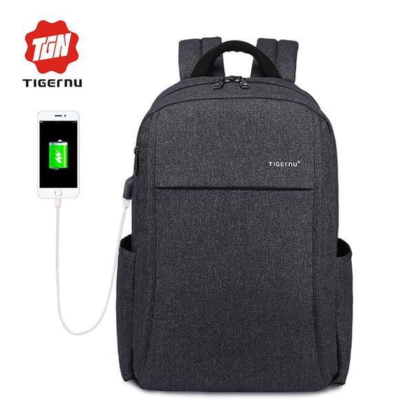 "2017 New Design Tigernu Anti-thief USB charging 15.6"" laptop Compute backpack for women male Backpack school Bag for Men Mochila"