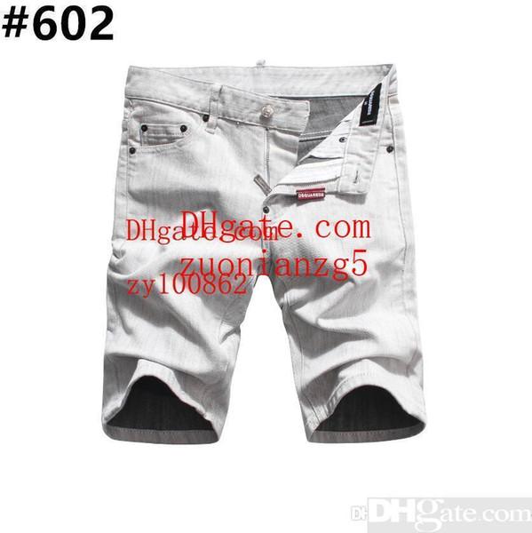 Men s Distressed Ripped Skinny Jeans Diseñador de moda Shorts Jeans Motocicleta delgada Moto Biker Causal Mens Denim pantalones Hip Hop Men Jeans # 802