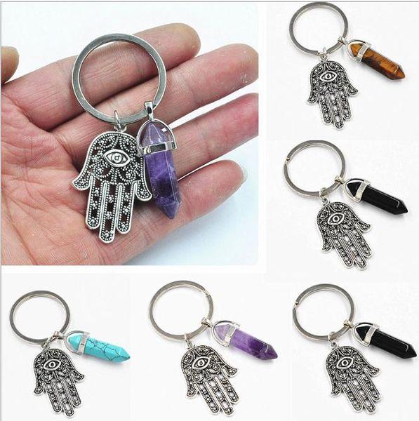 Vintage Silver Demon Eye Amulet Hamsa Fatima Hand Hexago Keychain Ring Charms For Keys Car Bag Key Chains Jewelry Handbag Gift
