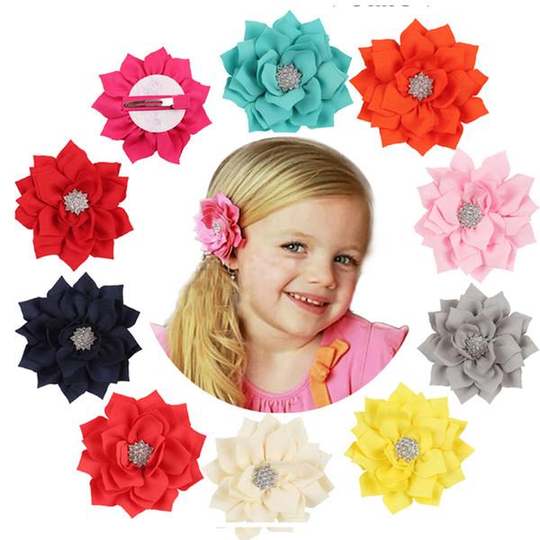 1PC Lotus Baby Girls Headband Satin Baby Infant Diamond Children Girls Hairpins Baby Hair Clips Flower Hair Accessories W132