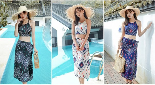 Women Bikini Beach Resort Hot Spring Three-piece Swimsuit Skirt-style Bathing Suits Swimwear Fashion Geometric Shawl With Chest Pad ZH0041