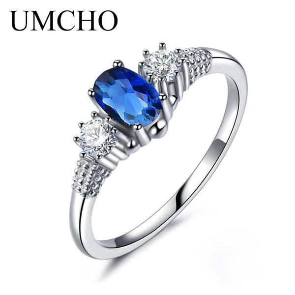 Umcho Bleu Saphir Anneaux Pour Les Femmes Solide Bijoux En Argent Sterling 925 Ovale Cut Blue Gemstone Élégant Bijoux De Mariage De Fiançailles T190702