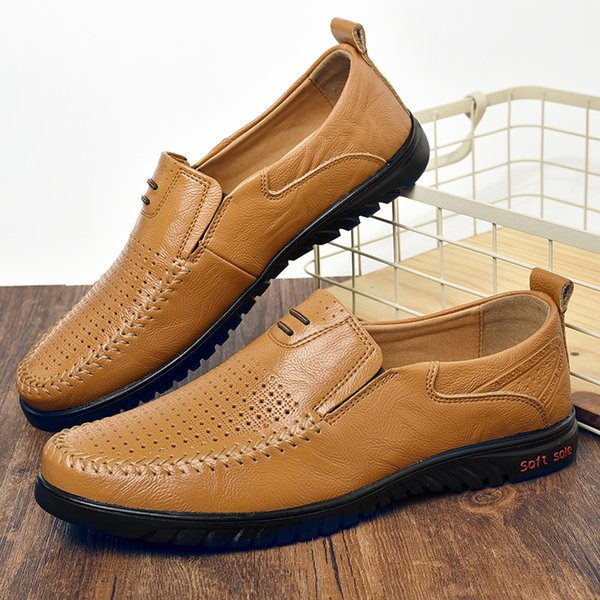 Verão Respirável Loafer Sapatos Dos Homens Tamanho 47 Sapatos Oxford Homens Anti-Escorregadio De Borracha Ao Ar Livre Casual Loafer Loafers De Luxo Marrom