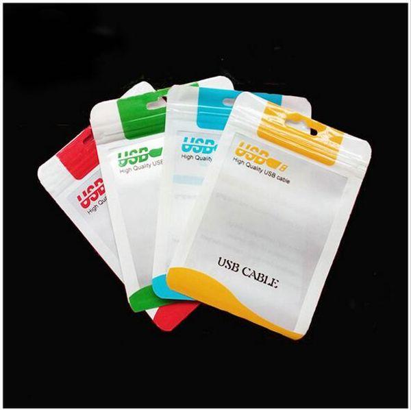10.5 * 15 Chiaro poli plastica bianca OPP Packing Zipper Lock Pacchetto Accessori PVC Retail Boxes per cavo USB Cellphone custodia per cuffie