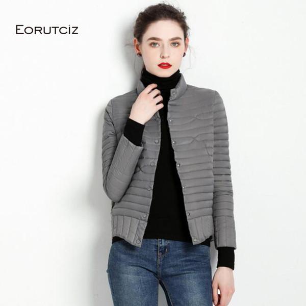 EORUTCI invierno pato abajo de la capa corta de las mujeres ultra ligera chaqueta delgada de la vendimia ocasional otoño Escudo LM514