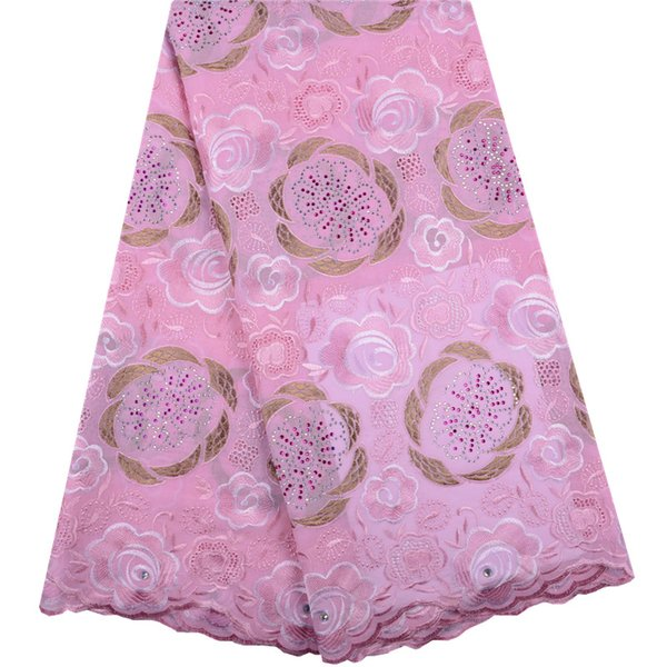 Pink African Dry Lace Fabrics High Quality Cotton Dry Lace Fabric Swiss Voile With Stone Swiss Voile Lace In Switzerland S1403