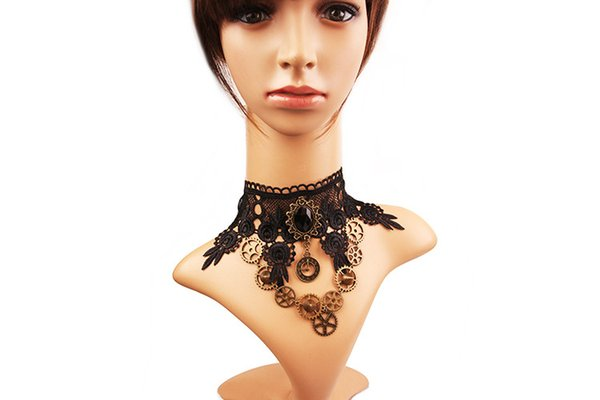 Lolita Goth Punk Collane Choker - Vintage Wedding Party Black Lace Steam Punk Gear Choker Collana gotica Gioielli da donna