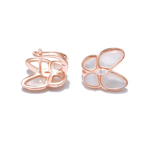 Chiodo dell'orecchio di trifoglio s925 argento puro placcatura oro 18k moda semplice bianco chiocciola farfalla chiodo dell'orecchio
