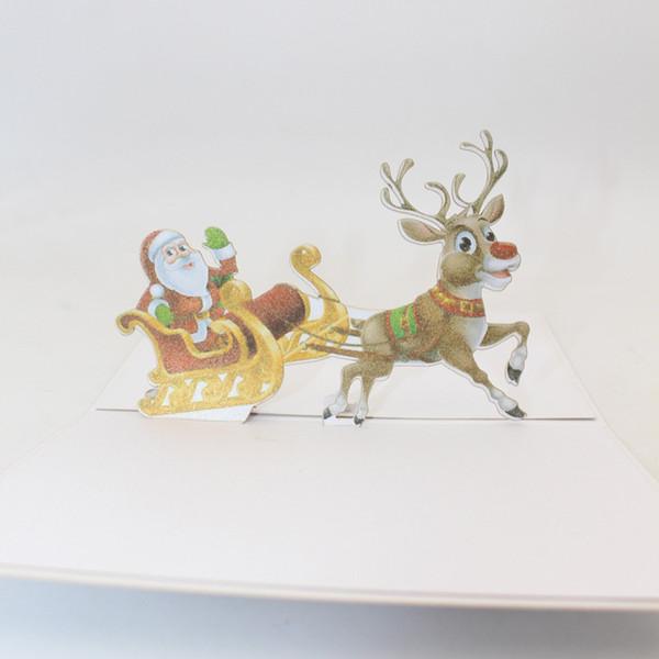Handmade Christmas Santa Ride Print Greeting Cards Creative Kirigami Origami 3D Pop UP Postcards Free Shipping