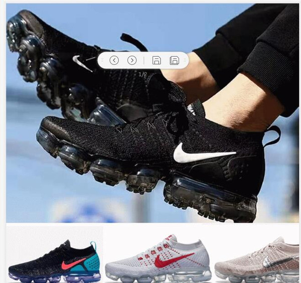 best selling 2019 Air Vaporma 2.0 Running Shoes for Men vapors Maxes 1.0 athletic sports Trainers Sports Shoe Women flywire Black Sneakers Walkin Shoes