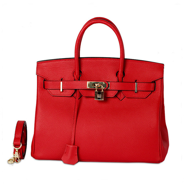 Wild2019 Woman Leather Genuine Baotou Layer Cowhide Litchi Grain Ma'am Handbag Single Shoulder Package