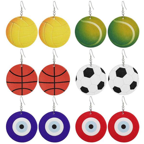 2019 Novas Desportiva PU Leather Brincos Eye Futebol Baseball Futebol Basquete Softball Mal Azul Brincos Para as mulheres Jóias