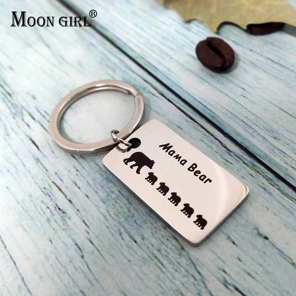 MOON GIRL Mama Little Bear Stainless Steel Key Chain Fashion Cute Animal Vintage Mother Birthday Gift Popular Rectangle Keychain