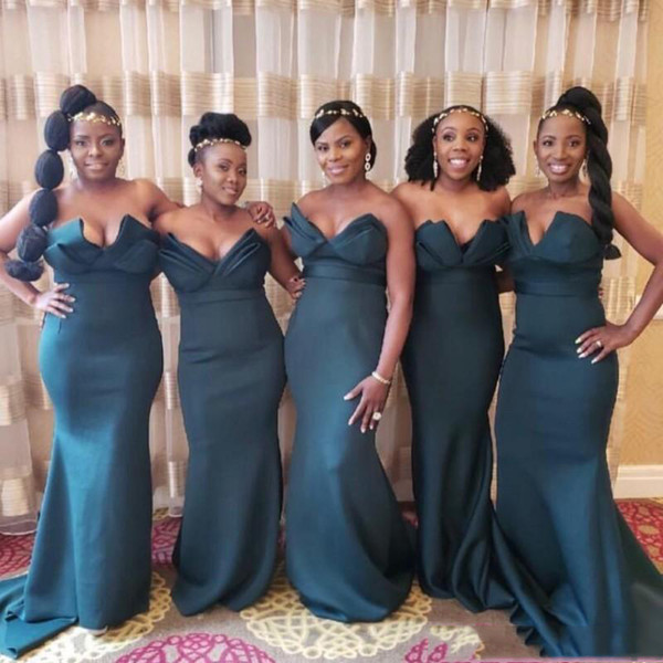 Cheap Sweetheart Ruffles Bridesmaid Dresses Vintage Sashes Mermaid Maid of Honor Gowns Nigerian Wedding Guest Dresses Party Gowns
