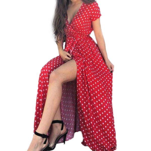 Beach Maxi Long Dress Vintage Polka Dot Ruffles Split Casual Sexy Sundress Party Women Summer Tea Dresses Plus Size Gv491 Y19051102