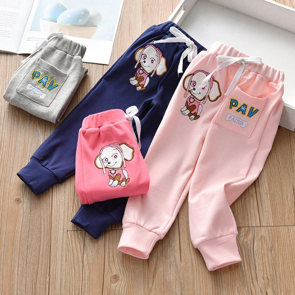 good quality 2019 spring and fall new girls cotton leisure pants kids korean cartoon puppy embroidery closing mouth trousers